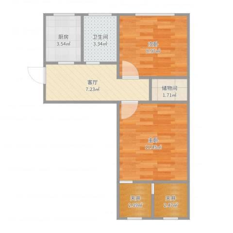 泾东一村2室1厅1卫1厨51.00㎡户型图