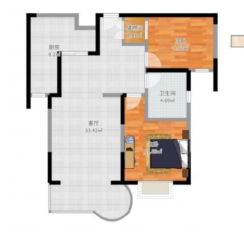 金色航城富鑫苑2室1厅1卫1厨85.00㎡户型图