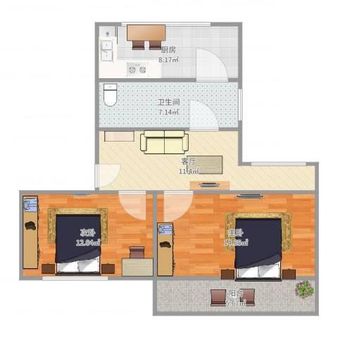金桥新村四街坊2室1厅1卫1厨74.00㎡户型图