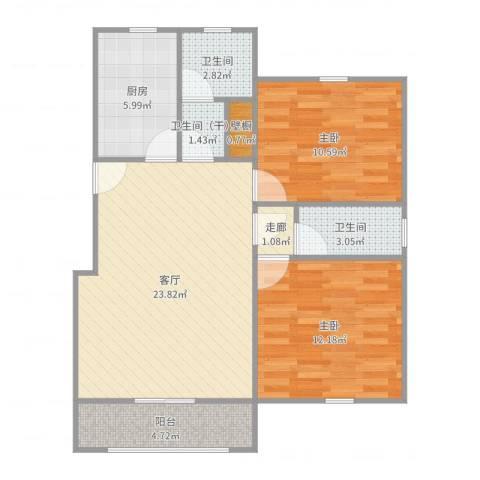由由新邸2室1厅2卫1厨83.00㎡户型图
