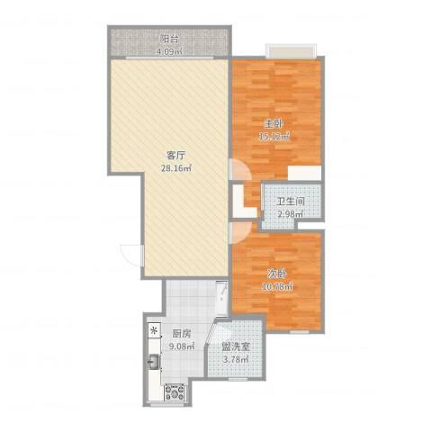 由由新邸2室3厅1卫1厨92.00㎡户型图
