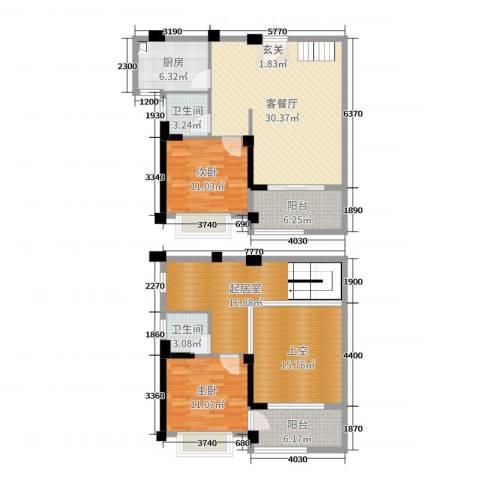 永鸿御珑湾2室2厅2卫1厨118.00㎡户型图