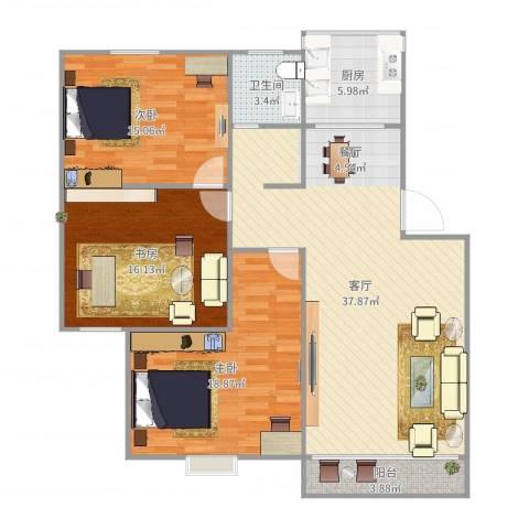 丽泽荷亭苑C1型102.52-103.56平方3室1厅1卫1厨126.00㎡户型图