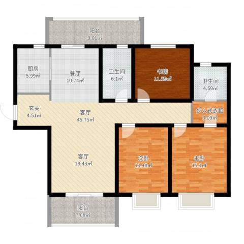 华润中海凯旋门3室1厅2卫1厨152.00㎡户型图