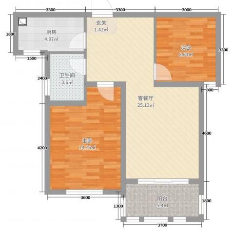 德仁・翡翠城2室2厅1卫1厨87.00㎡户型图