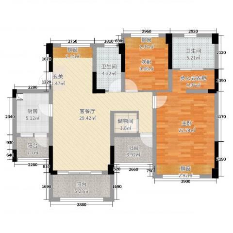 金马香颂居2室2厅2卫1厨111.00㎡户型图
