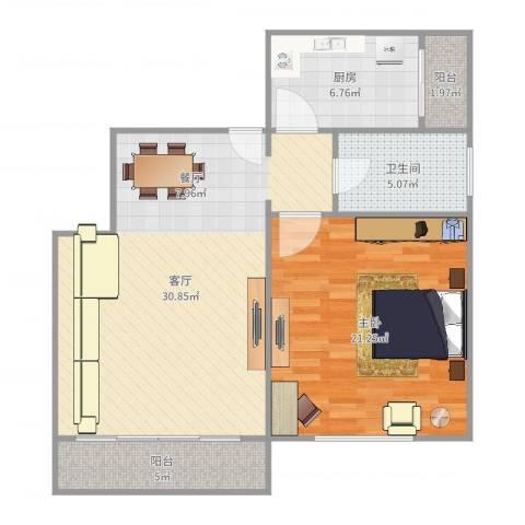 由由民丰苑1室1厅1卫1厨89.00㎡户型图