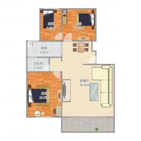 由由民丰苑3室2厅1卫1厨129.00㎡户型图