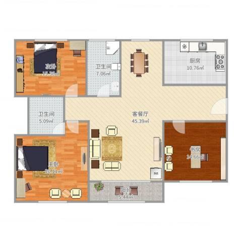 由由民丰苑3室2厅2卫1厨155.00㎡户型图