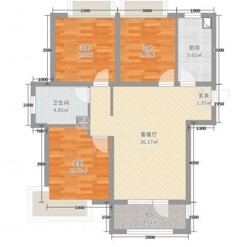 荣盛楠湖郦舍3室2厅1卫1厨107.00㎡户型图