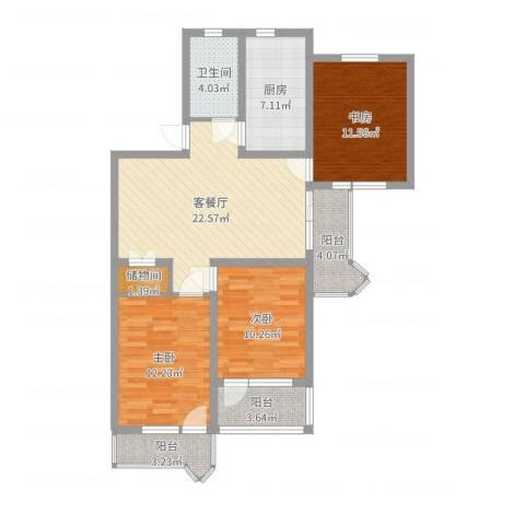 由由园中苑3室2厅1卫1厨100.00㎡户型图