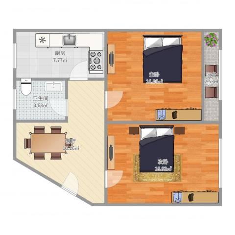 由由二村2室1厅1卫1厨75.00㎡户型图