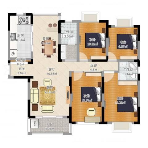 上铁银欣花园4室1厅2卫1厨145.00㎡户型图