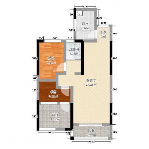 旭辉香樟公馆2室2厅1卫1厨75.00㎡户型图