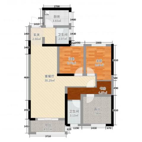旭辉香樟公馆3室2厅2卫1厨97.00㎡户型图