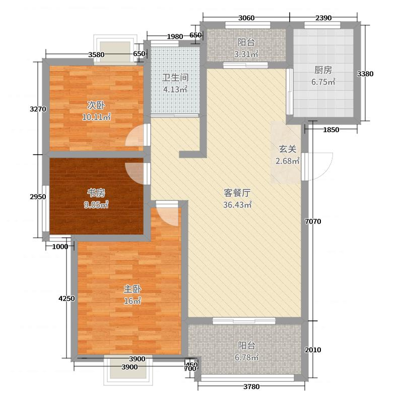云龙华府116.00㎡一期B2号楼边户L1户型3室3厅1卫1厨