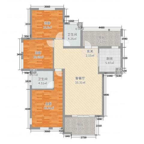 西西那堤三期3室2厅2卫1厨124.00㎡户型图