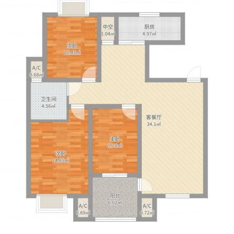 天泰茗仕豪庭3室2厅5卫1厨110.00㎡户型图
