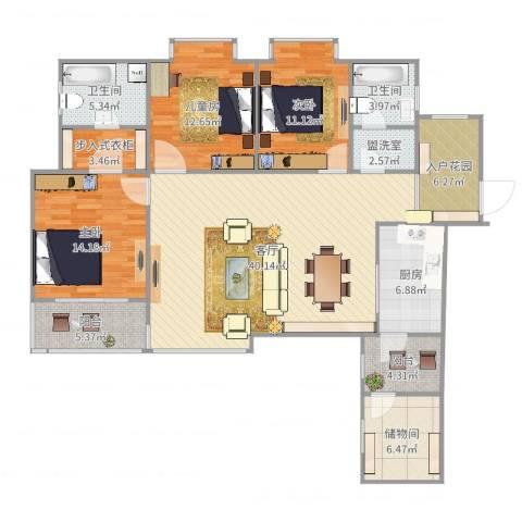 世通和府3室3厅2卫1厨153.00㎡户型图