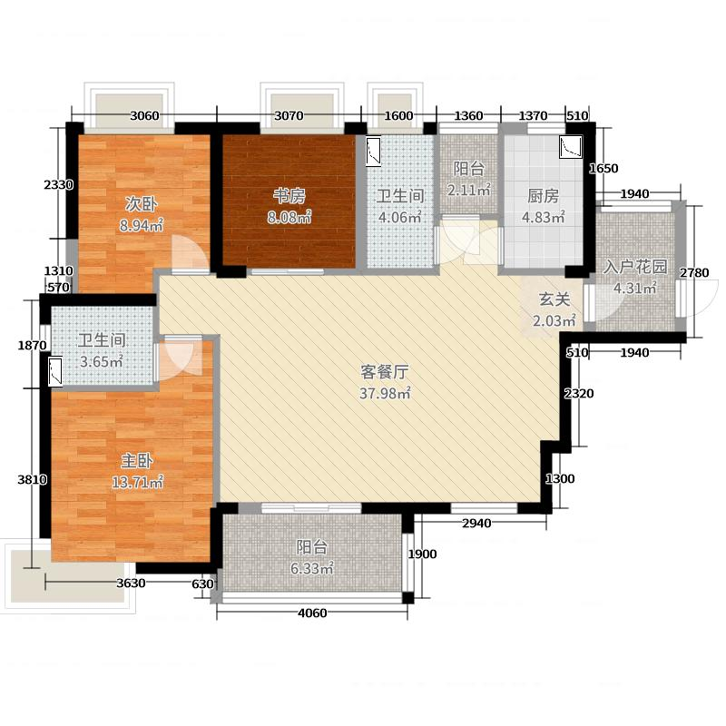 建华悦景台117.00㎡3幢03户型3室3厅2卫1厨