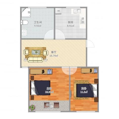 由由六村2室1厅1卫1厨78.00㎡户型图