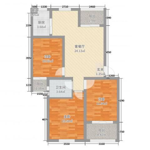 金色阳光城3室2厅1卫1厨94.00㎡户型图