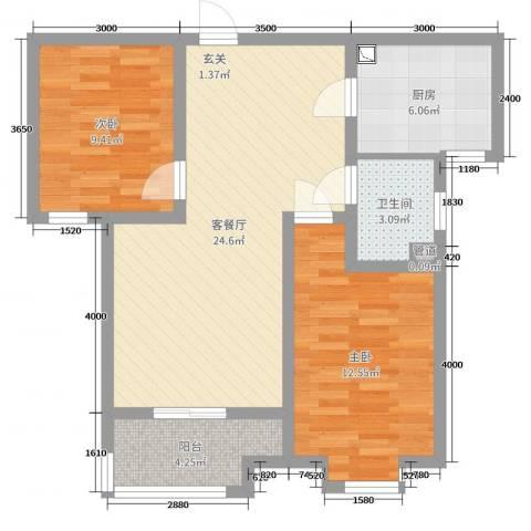 百岛绿城2室2厅1卫1厨90.00㎡户型图