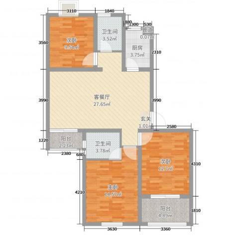 金色阳光城3室2厅2卫1厨101.00㎡户型图