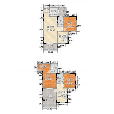金田花园花域3室2厅3卫1厨131.00㎡户型图