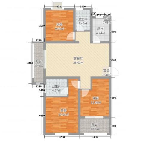 金色阳光城3室2厅2卫1厨108.00㎡户型图