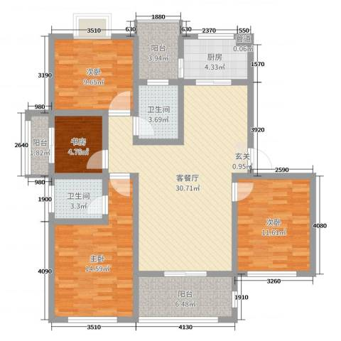 金色阳光城4室2厅2卫1厨119.00㎡户型图