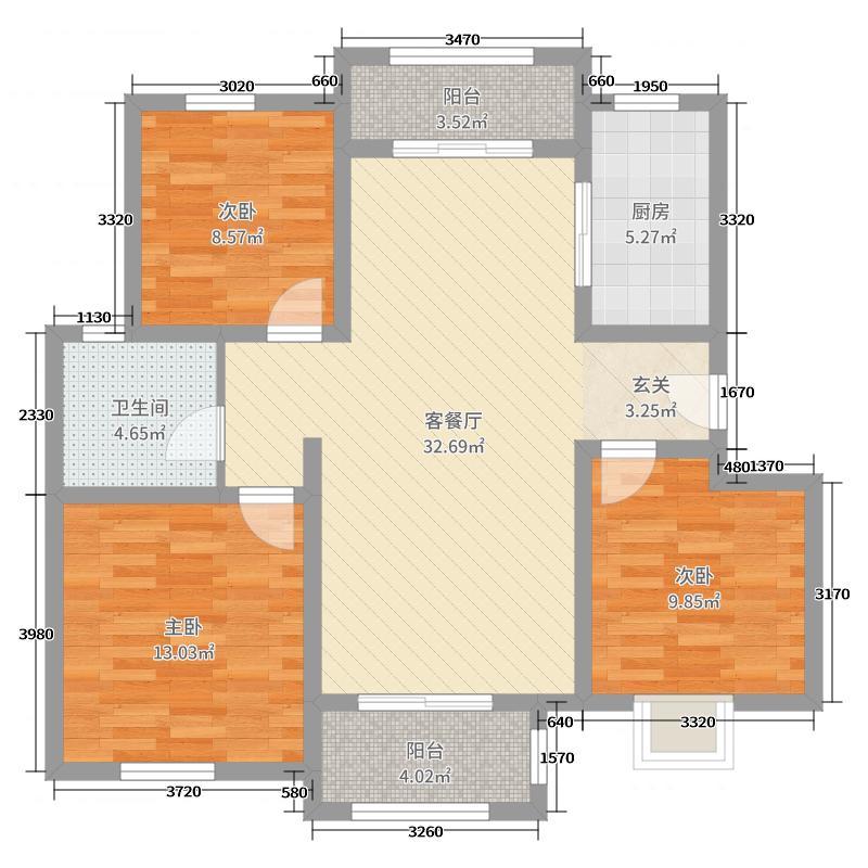 平度上海花园102.00㎡1-5#楼标准层B户型3室3厅1卫