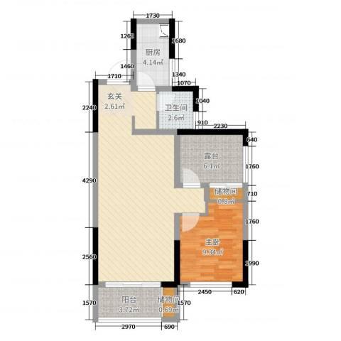 旭辉香樟公馆1室0厅1卫1厨70.00㎡户型图