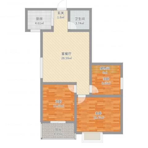 百合花园二期3室2厅1卫1厨97.00㎡户型图