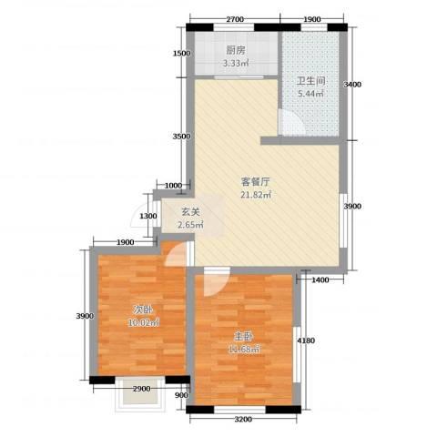 卓扬北湖湾2室2厅1卫1厨77.00㎡户型图