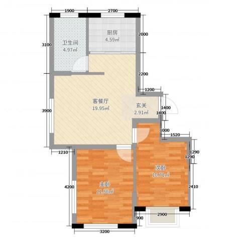 卓扬北湖湾2室2厅1卫1厨82.00㎡户型图