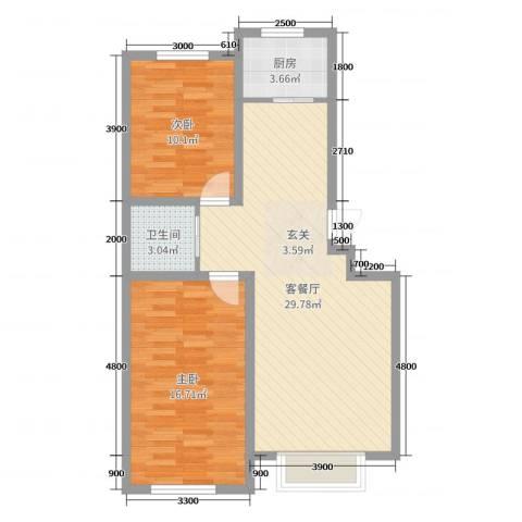 卓扬北湖湾2室2厅1卫1厨84.00㎡户型图
