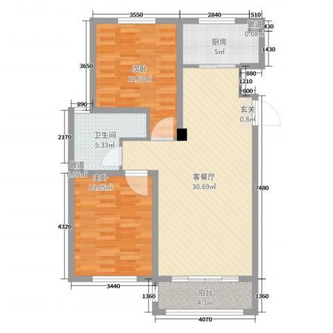 山河半岛2室2厅1卫1厨89.00㎡户型图