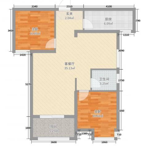 茗阳天下2室2厅1卫1厨107.00㎡户型图