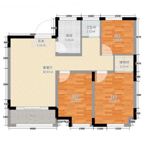 边城香榭里8号3室2厅1卫1厨100.00㎡户型图