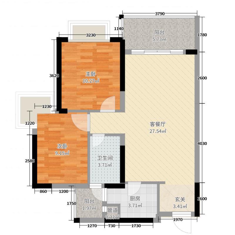 绿湖国际城78.00㎡6、10、12、13座04户型2室2厅1卫1厨