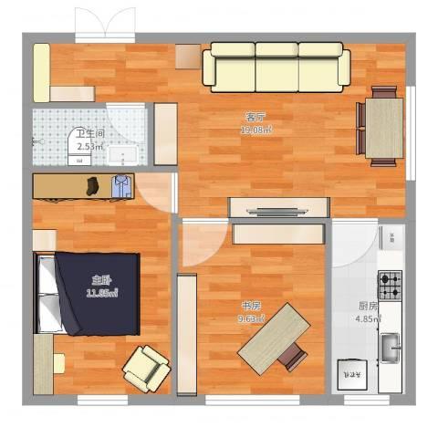 尚品精舍2室1厅1卫1厨60.00㎡户型图