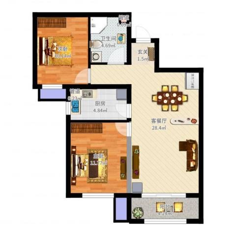 诗景颂苑2室2厅2卫2厨82.00㎡户型图