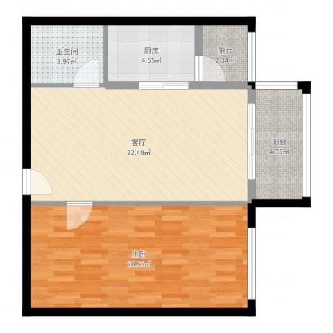 御东和府1室1厅1卫1厨73.00㎡户型图