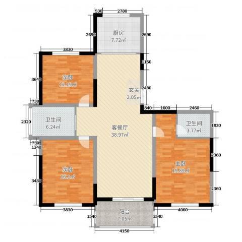 新河湾3室2厅2卫1厨140.00㎡户型图