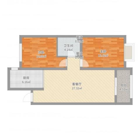 中达・名门世家2室2厅1卫1厨84.00㎡户型图
