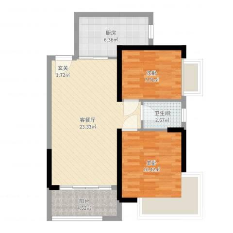 秋谷月半弯2室2厅1卫1厨69.00㎡户型图