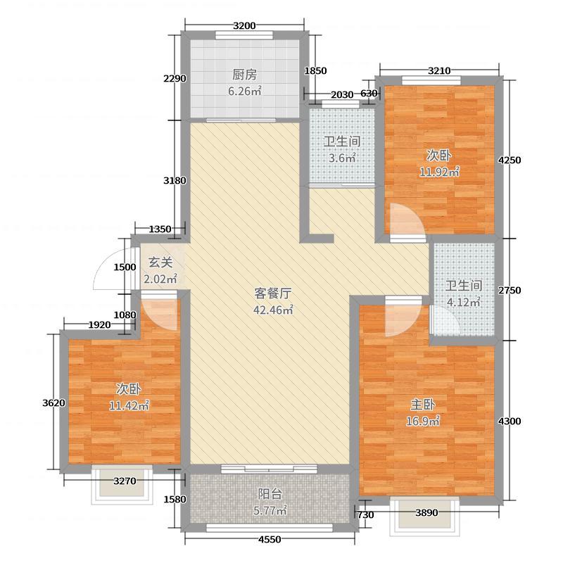 亿隆家天下126.00㎡家天下6号院高层C5'户型3室3厅2卫1厨