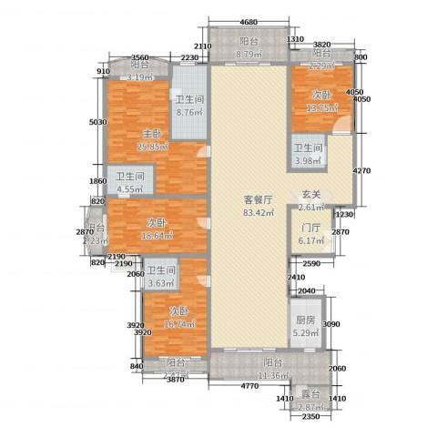 雅居乐滨江国际4室2厅4卫1厨280.00㎡户型图