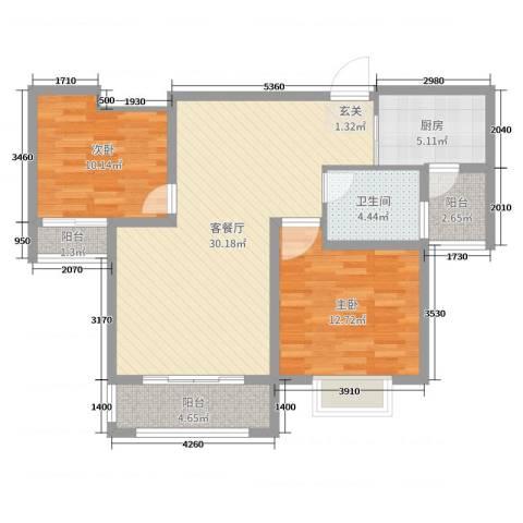 金禾华府2室2厅1卫1厨89.00㎡户型图